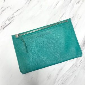 Liebeskind Teal Blue Leather Zip Pouch Wallet